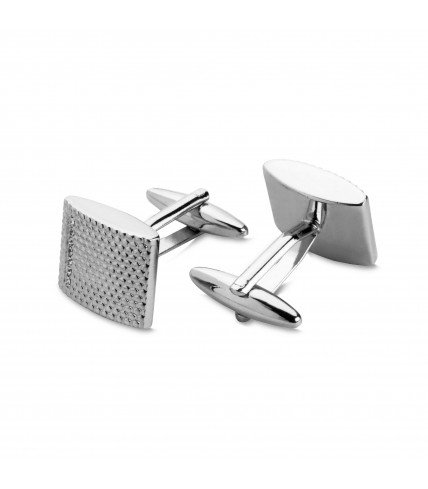Metal cuff links with cells and gloss