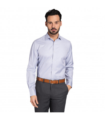 Grey dogtooth classic fit shirt 100% cotton - Grey