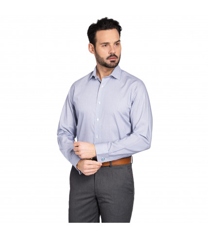 Non-iron blue striped classic fit french cuffs dress shirt