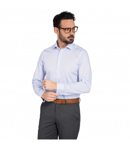 Sky blue striped classic fit shirt 100% cotton