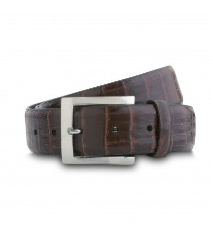 Crocodile brown leather belt