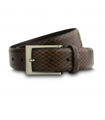 Snake pattern leather belt