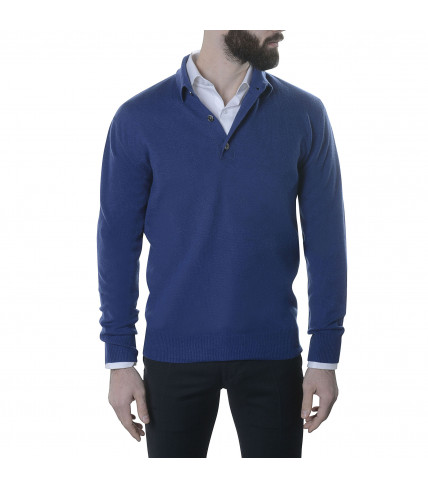Pure cashmere polo neck sweater